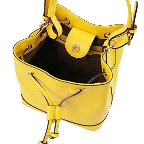 pelle in secchiello Cognac Giallo donna Minerva da Saffiano Tuscany Borsa Leather Bx0CHwwU