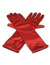 RUNHENG Kids Stretchy Satin Long Finger Dress Gloves (Rad)