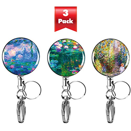 3-PK Heavy Duty Retractable Badge Reel with Waterproof ID Holders & Key Rings. Steel Wire, Belt Clip & Metal Badge Clip. Great for Lanyards, Nurses, Teachers, Men & Women. Claude Monet Collection