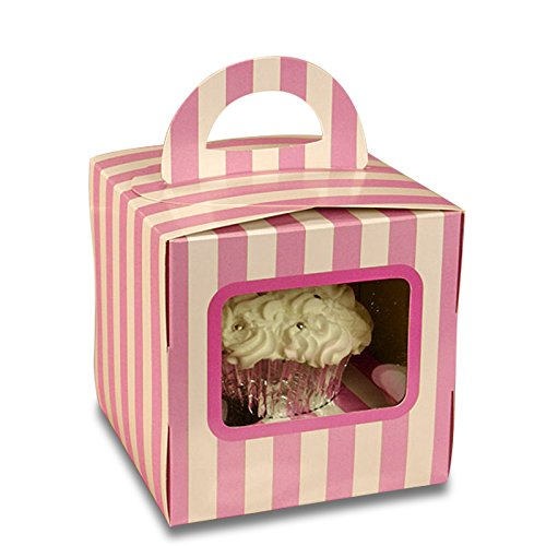 White and Pink Striped Cupcake Boxes with Handles | Quantity: 200 | Width: 4
