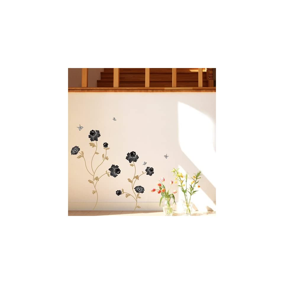 Modern House Mocha Flower removable Vinyl Mural Art Wall Sticker Decal