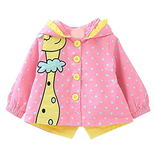 CSSD Kids Baby Girl Winter Warm Trench Coat Windbreaker Jacket Outwear Parka (100, Pink) (Spring Breaker Halloween Costume)