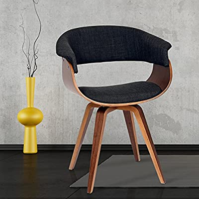 Armen Living Summer Chair in Charcoal Fabric and Walnut Wood Finish - Update  your home style with the retro Summer chair that plays up, mid-century modern aesthetics Walnut Wood finish with Charcoal Fabric upholstery Great for a mix of modern and contemporary meets mid-century style - living-room-furniture, living-room, accent-chairs - 512SSICOY0L. SS400  -