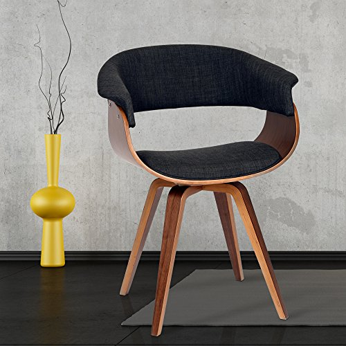 - Armen Living LCSUCHWACH Summer Chair in Charcoal Fabric and Walnut Wood Finish