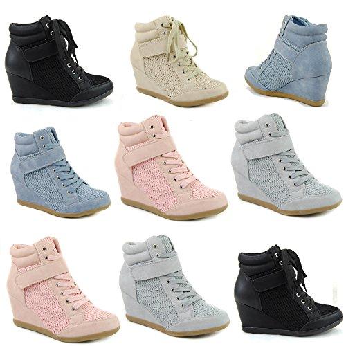 Damen Sneakers Keilabsatz Stiefeletten Wedge Plateau Boots ST876 Beige