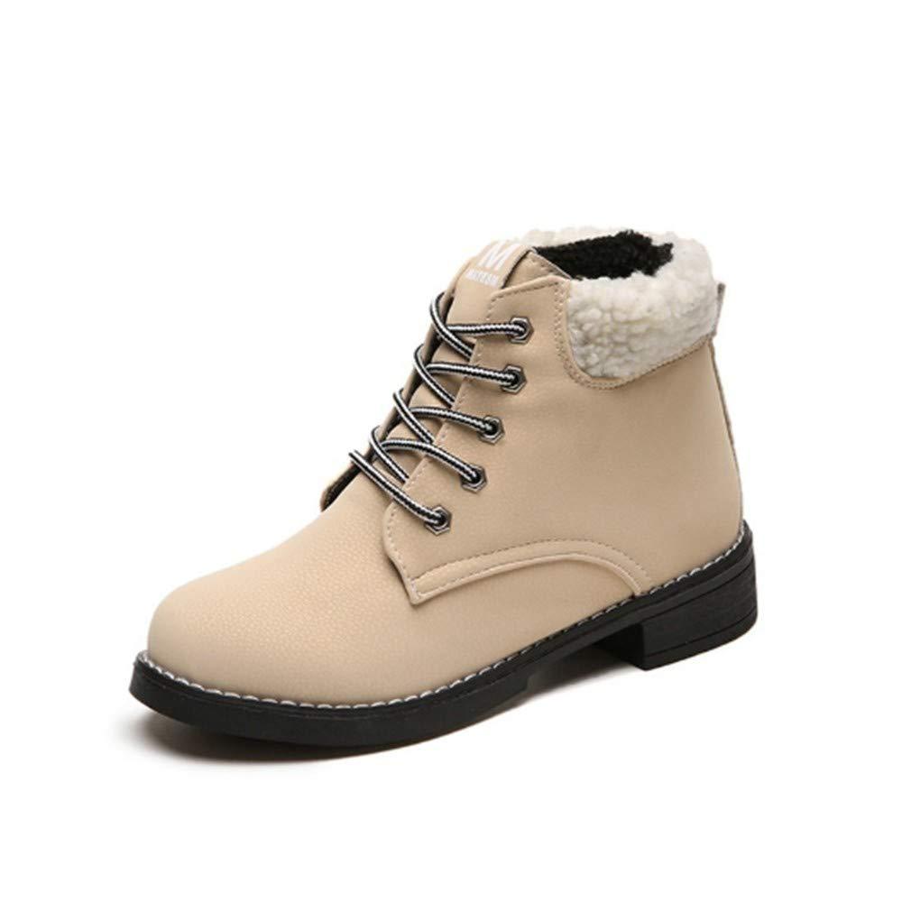 YSFU YSFU YSFU Stiefel Frauen Martin Stiefel Schnürung Quadratische Ferse Schuhe Damen Stiefelies Stiefelie Casual Turnschuhe Schuh Sport Warme Flache Herbst Winter Outdoor Anti Slip 640779