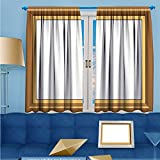 SCOCICI1588 2 Panel Curtains Photo frame with simple borders Linen Window Curtains Rod Pocket Top W52'' x L63'' Pair