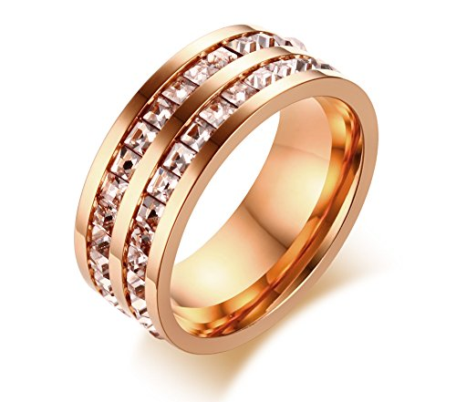Double 2 Row of Square Rhinestone Crystal Wedding Engagement Band Promise Ring,Rose Gold,size 9 (Double Channel Set)