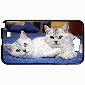Personalized Protective Hardshell Back Hardcover For Samsung Note 2, Cats Pair Two Eyes Design In Black Case Color