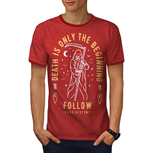 wellcoda Death Beginning Mens Ringer T-Shirt, Reaper Crow Graphic Print Tee Heather Red/Red XL (Reaper Ringer T-shirt)