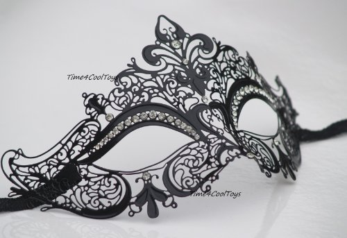 Mysterious Sexy Black Laser Cut Venetian Mardi Gras Masquerade Mask with Diamonds