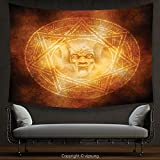 House Decor Tapestry Horror House Decor by Demon Trap Symbol Logo Ceremony Creepy Ritual Fantasy Paranormal Design Orange Wall Hanging for Bedroom Living Room Dorm