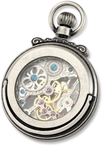 Charles-Hubert-Paris-3869-S-Classic-Collection-Antiqued-Finish-Open-Face-Mechanical-Pocket-Watch
