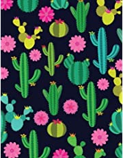 Cactus Notebook: Night Cactus Garden Black Cactus Journal Notebook 110 Page Composition Book Diary Planner Cactus Lover Gifts Neon (8.5 x 11 inch)