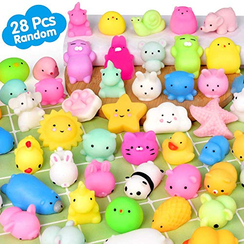 (Mochi Squishy Toys MOMOTOYS 28PCS Animal Mini Squishies Kawaii Party Favors For Kids Cat Unicorn Squishy Squeeze Stress Relief Toys Goodie Bags Novelty Toy Birthday Gifts For Boys Girls Adults, Random)