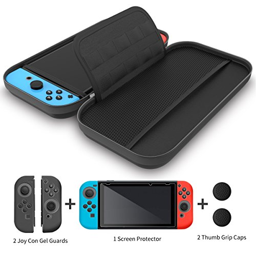 GH 4 in 1 Nintendo Switch Carrying Case, Travel Nintendo Switch Bag for NS Console,10 Game Card Holders & a Bonus Screen Protector, a Cleansing Cloth, 2 Joy Con Gel Guards & 2 Thumb Grip Caps