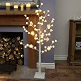 Rose Wishing Twig Tree - 125cm Tall - White - Warm White LEDs - Plug-In by Festive Lights