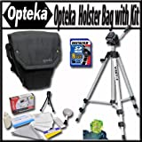 Opteka Ultra soft light weight padded SLR, DSLR Camera holster bag for short to mid-range lenses with Travel Tripod, 8GB Memory Card and Reader, Triple axis Bubble level and More!