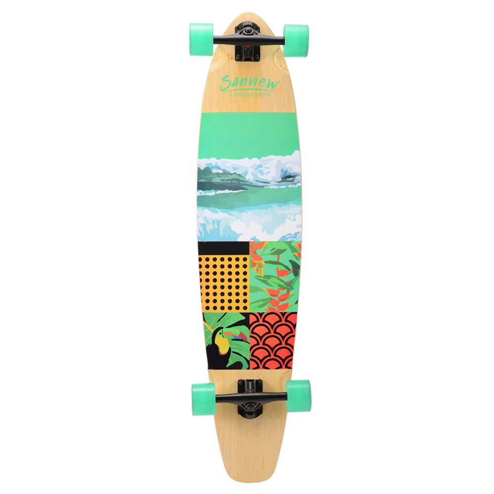 SANVIEW 42inch Complete Bamboo Longboard Skateboards Cruiser Wave
