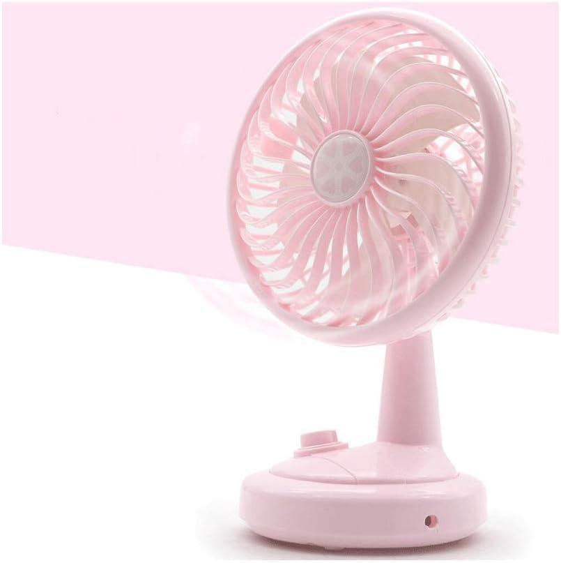 BO LU Fan Shaking Head Mini Fan Desktop Home USB Charging Ultra Quiet Operation 2 Speed Settings,Pink