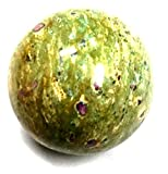 Shivansh Creations Natural Gemstone Hand Carved Metaphysical Sphere Size 90-120 mm (Ruby Zosite)
