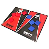 Hohaski Cornhole Game Set with 8 Bean Bags and Travel Carrying Case- Tic Tac Toe 2 Games In 1 Red & Black