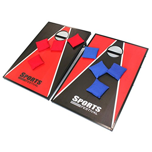 Hohaski Cornhole Game Set with 8 Bean Bags and Travel Carrying Case- Tic Tac Toe 2 Games In 1 Red & Black by Hohaski