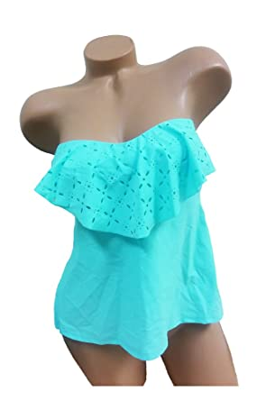 f3b1d3e9b8 SO Women Tankini Top Flounce Strapless Bandeau Turquoise at Amazon Women's  Clothing store:
