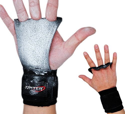 Jupiter Leather Hand Grips with Wide Wrist Wraps-Perfect for Pull-up Training, Kettlebells and Barbell Training, Weightlifting (Black(3 Holes/Double Leathers), - Wrap Wrist Training