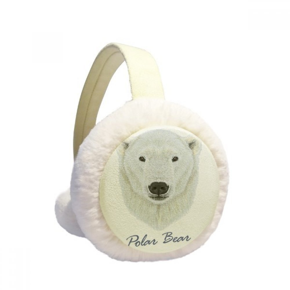 White Northern Wild Polar Bear Animal Winter Earmuffs Ear Warmers Faux Fur Foldable Plush Outdoor Gift