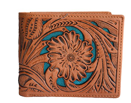 (men inlay cut out small tooled floral bifold cowboy small wallet woven leather (brown blue))