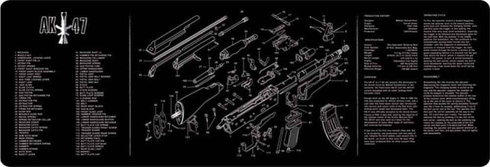 Alfombrilla de ratón para Juegos de Velocidad extendida Pistola de desmontaje de Pistola Alfombrilla de Goma Alfombrilla de ratón Resistente al Agua Tamaño grande-Ak-47 915X305X3 mm