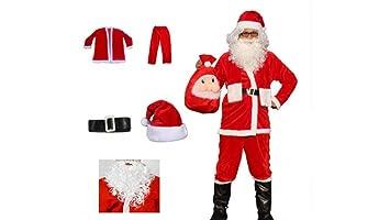 Matissa Traje de Santa Claus para Hombre y Barba Papá ...