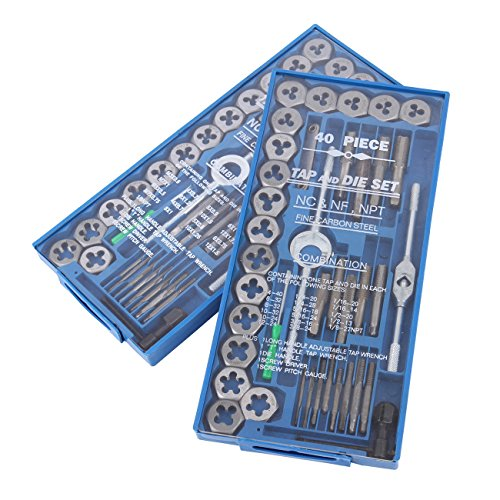 Iglobalbuy 80 Piece Tap And Die Set SAE & METRIC Screw Extractor Remove Adjustable Wrench T-Handle Case by Iglobalbuy
