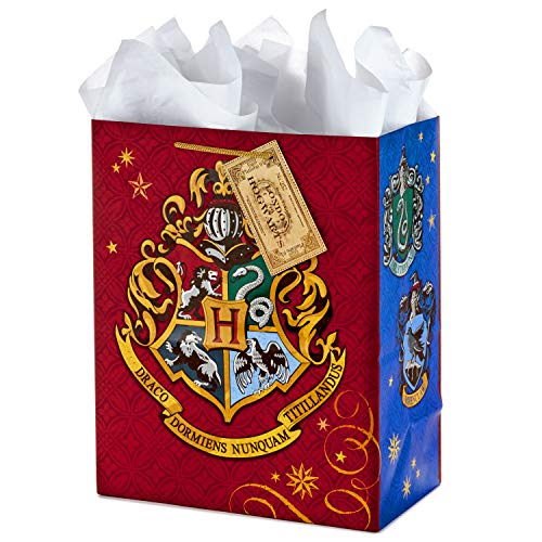 Hallmark 13″ Large Gift Bag with Tissue Paper (Harry Potter, Hogwarts Crest) for Birthdays, Graduations, Parties and More