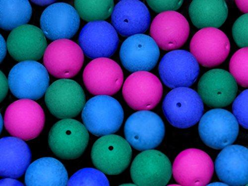 24pcs-10mm-czech-glass-round-pressed-beads-estrela-neon-uv-active-dark-neon-mix