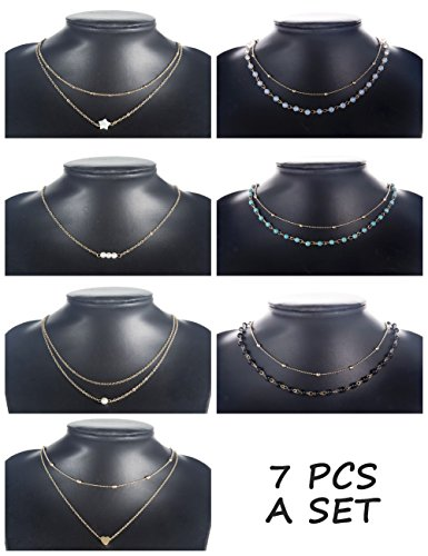 (Finrezio 7 PCS Layered Choker Necklace for Women Girls Gold-Plated Star Heart Pearl Chain Necklaces Dainty Jewelry Set)