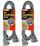 Prime EC680506L Air Conditioner and Major Appliance Extension Cord, Gray, 6-Feet, 2-Pack