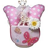 出産祝い/キリンのソフィー(並行輸入品)とヘッドクッションのおでかけギフトセット・リボンラッピング付き (女の子用)