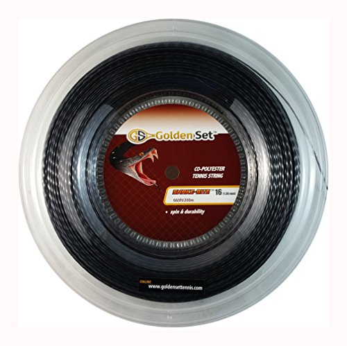 Golden Set Tennis Snake-Bite Max Spin Polyester Tennis String (Black, 16 Gauge Reel (660ft/200m)) 660 Cross