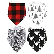 Stadela Baby Adjustable Bandana Drool Bibs for Drooling and Teething Nursery Burp Cloths 4 Pack Baby Shower Gift Set for Boys – Lumberjack Deer Animal Woodland Forest Wood Grain Trees Buffalo Pla