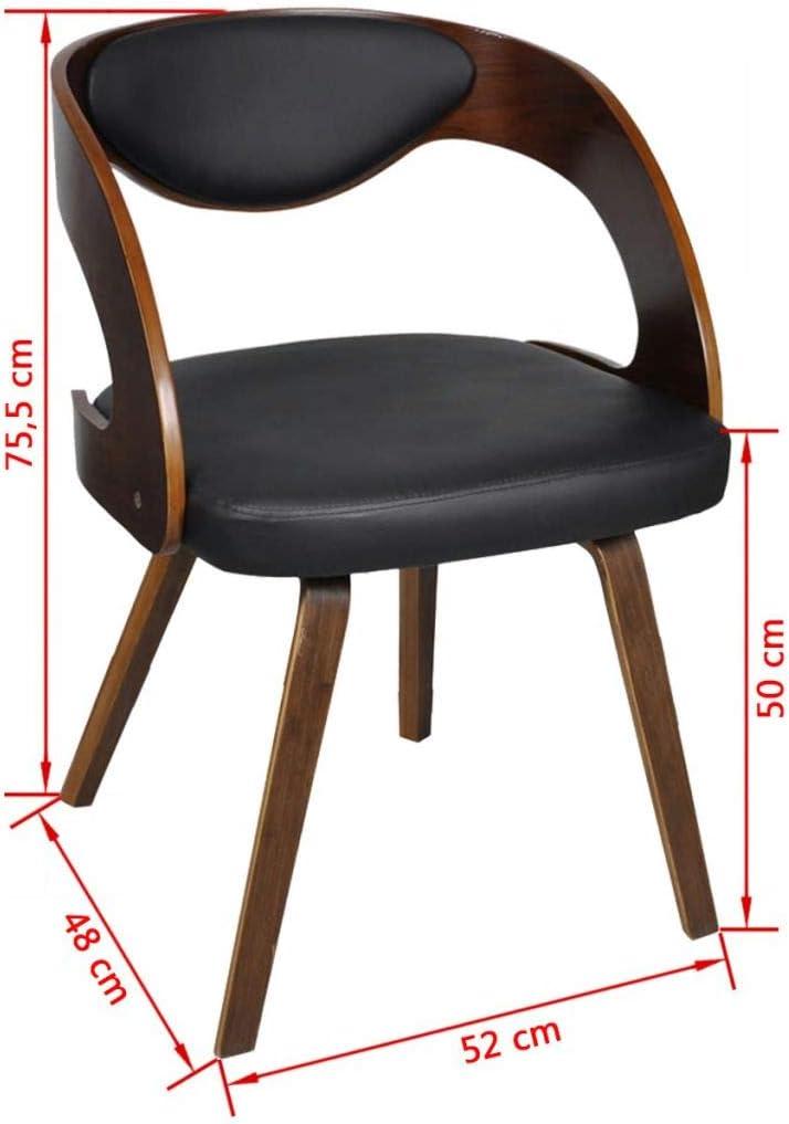 vidaXL Lot de 6 chaises à accoudoirs en Cuir mélangé et Bois Brun