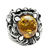Adisaer Biker Rings Silver Ring for Men Four Claw Amber Ring Size 10 Vintage Punk Jewelry