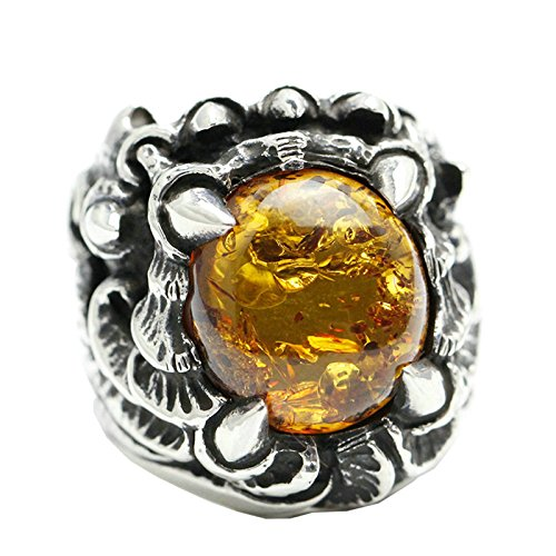 Beydodo Mens Silver Ring, Four Claw Amber Ring Size 9.5 Men Rings Hip Hop by Beydodo