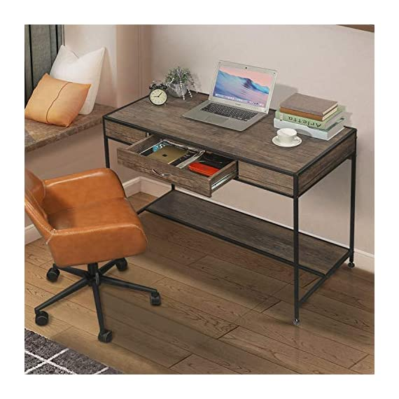 Aingoo Writing Computer Desk with Drawer Industrial Laptop Study PC Workstation Desk Table with Metal Frame for Home… -  - writing-desks, living-room-furniture, living-room - 512SWLBdQHL. SS570  -