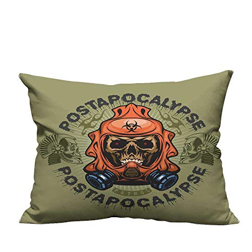 YouXianHome Lovely Cushion Covers Post Apocalypse Coat rms Skull Grunge Vintage Design t Shirts Resists Stains(Double-Sided Printing) 13x17.5 inch