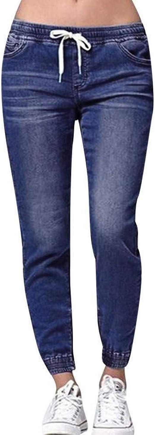 HX fashion ジーンズレディーススリムフィットルーズフィットジーンズジョガー足上げ足首ストレート脚穴ありストレッチデニムリラックスパンツパンツドローストリング弾性ペンシルパンツジーンズ