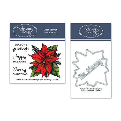 Perfec Poinsettia Clear Stamps & Dies Bundle | Photopolymer Stamps | Clear Rubber Stamps | Christmas Stamps | Matching Metal Dies | Die Cuts | Craft Dies | Cutting Dies ()