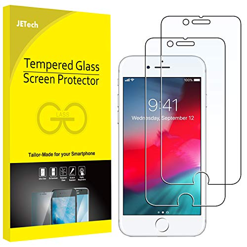 JETech 2-Pack Screen Protector for Apple iPhone 6, iPhone 6s, iPhone 7, and iPhone 8, Tempered Glass Film, 4.7-Inch (Glass Iphone 6 Screen Protector)