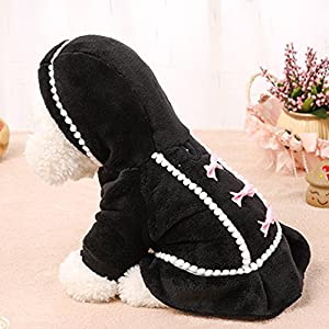 Boomboom Newest Lovely Winter Warm Bowknot Pet Puppy Dog Coat Clothes (S, Black)
